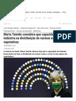 Marta Temido considera que capacidade da indústria na distribuição de vacinas está aquém das expetativas