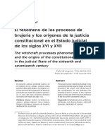 El Fenómeno de Los Procesos de Brujería y Los Orígenes de La Justicia Constitucional en El Estado Judicial de Los Siglos XVI y XVII