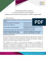 Syllabus del curso Desarrollo del Pensamiento Científico (1)