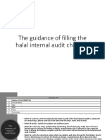 The guidance of filling the halal internal audit