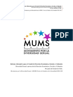 """Informe Alternativo de MUMS para el Comité de Derechos Económicos, Sociales y Culturales de la Organización de Naciones Unidas """"Diversidad Sexual y protección de Derechos Económicos, Sociales y Culturales por parte del Estado de Chile"""""""