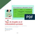 Tipos de Despido en El Ordenamiento Peruano -LABORAL
