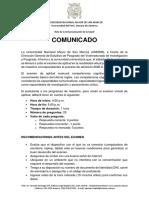 Comunicado - VRIP6092001 - Sobre El Examen de Aptitud en La Modalidad Virtual Para Los Programas de Maestría - VF