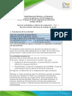 Guia de actividades y rubrica de evaluación - Fase 1 - Reconocimiento Opciones de trabajo de grado