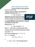 La función logaritmo y potencia compleja