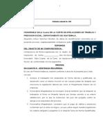 MINUTA DE  VISTA DEL  ORDINARIO LABORAL