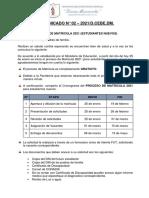 2. COMUNICADO DE MATRICULA ESTUDIANTES NUEVOS