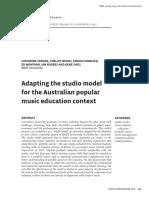 Adapting The Studio Model for AUS Pop Music Edu Context