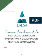 PROTOCOLO MEDIDAS PREVENTIVAS Y DE ACTUACION FRENTE AL CORONAVIRUS EALSA Rev1