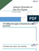 Aide mémoire formules et tables Six Sigma