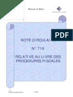 Note716 Relative Au Livre Des Procédures Fiscales