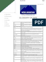 Pipe glossary