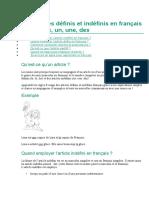 Les articles définis et indéfinis en français