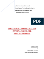 ENSAYO LA CONFIGURACION INTERNACIONAL DEL NEOLIBERALISMO  PROF RICHARD