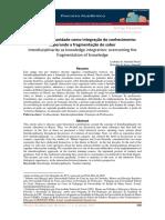 Interdisciplinaridade como integração do conhecimento
