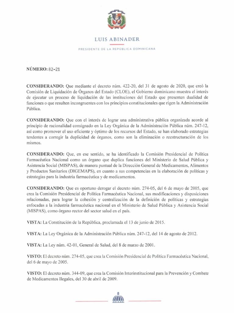 Resultado de imagen para El presidente Luis Abinader disolvió mediante el Decreto82-21