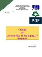 Unidad III resumen de lectura pag 15 hasta 27