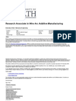 Research Associate in Wire Arc Additive Manufacturing at University of Bath