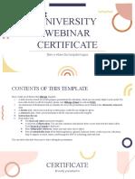 University Webinar Certificate by Slidesgo