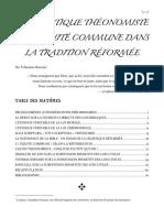 Théologie - La Légistique Théonomiste Et l'Équité Commune Dans La Tradition Réforméee