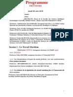 Programme provisoire du Colloque International du 26 Juin 2019 version du 21 Mai 2019