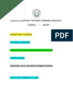Segundo Quimestre Tercer Parcial Primero de Bachillerato Regular 2021  04 de febrero del 2021
