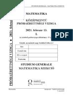 Sg próbaérettségi matek közép 2021