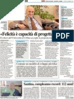 """""""Felicità è progettare il futuro"""" Il rettore dell'Università di Urbino accoglie la proposta lanciata da Matteo Ricci - Il Resto del Carlino del 24 febbraio 2011"""