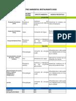 Ejemplo matriz  impacto ambiental y presupuesto programa ambiental