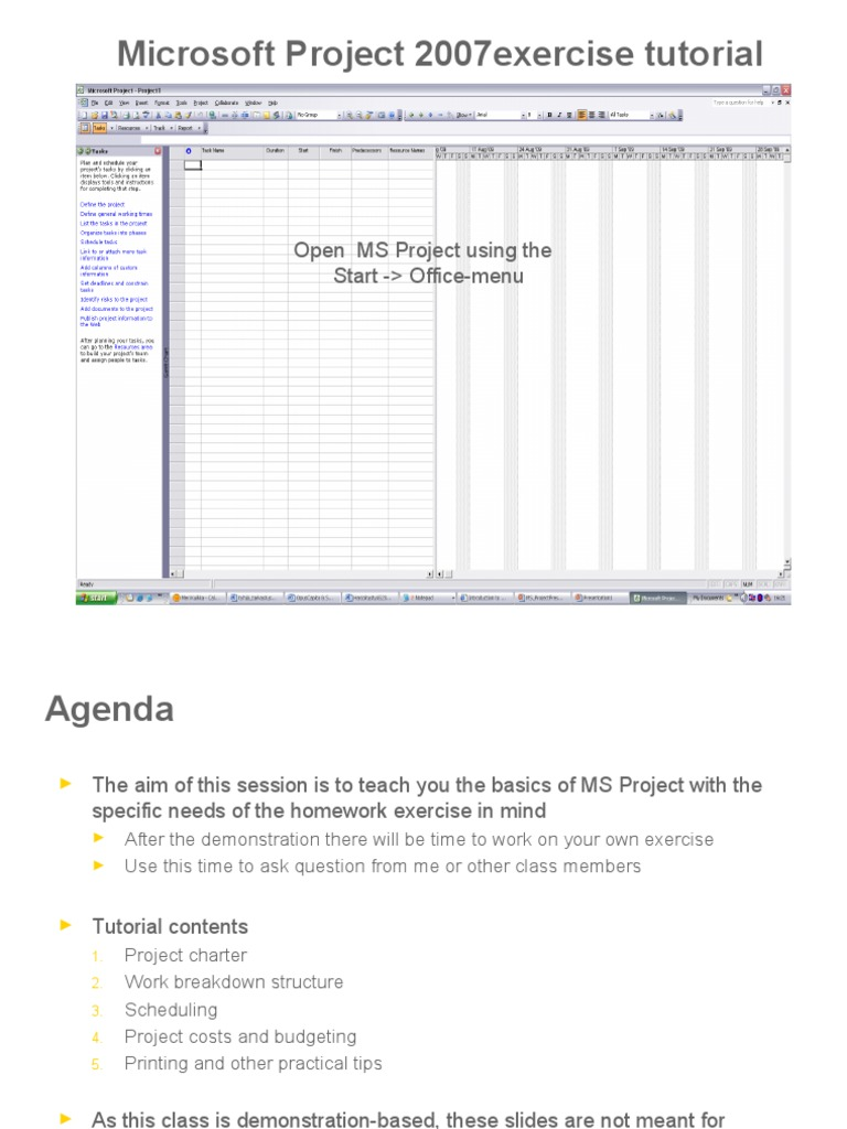 Microsoft Project 2007 Exercise Tutorial Technology Business