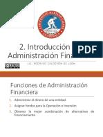 2.  Introducción a la Administración Financiera