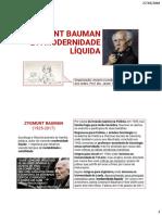 Socio 7 - Slides Zigman Bauman_Modernidade Liquida - Pf Jeane