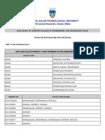 B.Tech S6 (R,S) Exam May 2019 (Regular)