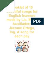 Booklet of 15 beautiful songs by María Auxiliadora Jácome Ortega