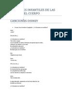 CANCIONES INFANTILES DE LAS PARTES DEL CUERPO