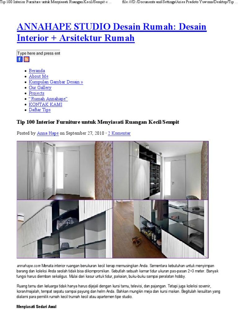 Tip 100 Interior Furniture Untuk Menyiasati Ruangan Keci