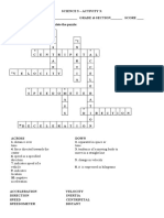 Activity 3 Crossword Puzzle on MOTION