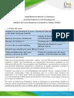 Syllabus del curso Bioquimica Metabolica