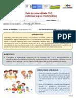 GUIA DE APRENDIZAJE 4 COMPETENCIA LOGICO MATEMATAICA GRADO PRIMERO