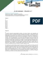 Correção Teste_Filosofia 11_Estatuto do conhecimento científico
