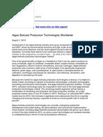 Algae Biofuels Production Technologies Worldwide