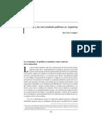 La crisis y las universidades públicas en la Argentina