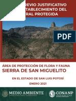 Estudio de Área Protegida para Sierra de San Miguelito