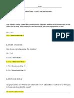 4th grade math unit 2 practice problems key