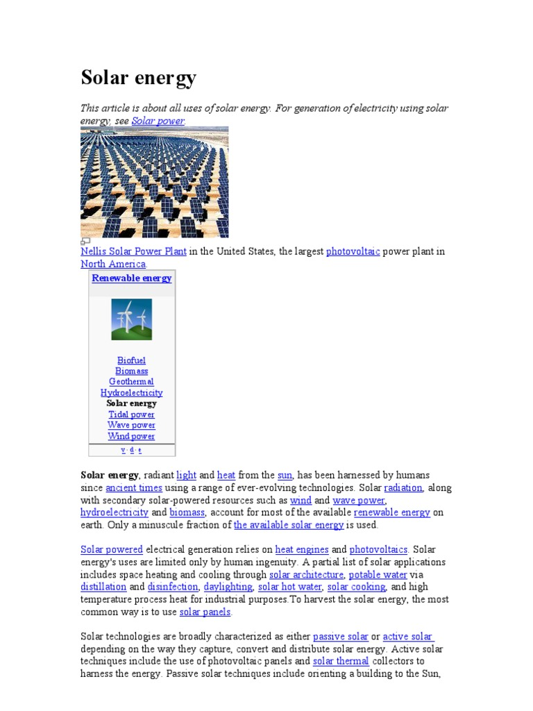 Solar energy | Solar Energy | Solar Power