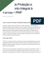 Servico de Protecao e Atendimento Integral a Família – PAIF — MINISTERIO DO Desenvolvimento Social