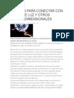 CÓDIGOS PARA CONECTAR CON SERES DE LUZ Y OTROS PLANOS DIMENSIONALES