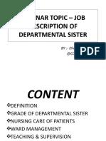 SEMINAR TOPIC – JOB DESCRIPTION OF DEPARTMENTAL SISTER