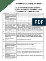 CODIGOS DE ERROR COPIADORAS RICOH MP 2550 Y 3350 - Venta Renta y Servicio