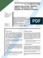 NBR ISO 13782 - Implantes para cirurgia - Materiais metalicos -